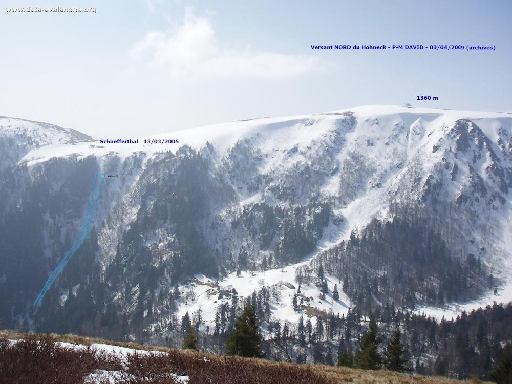 Avalanche Vosges, secteur Hohneck, Couloir oriental du Schaeferthal - sous la ferme de Schaeferthal - commune de Stosswihr - Photo 1