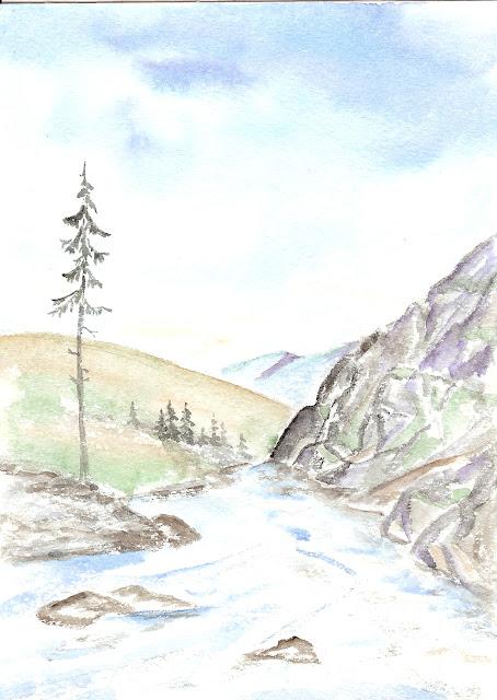 а друг рисует горы, далёкие как сон