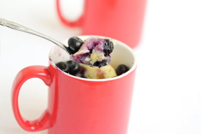 photo of a spoonful of blueberry cake