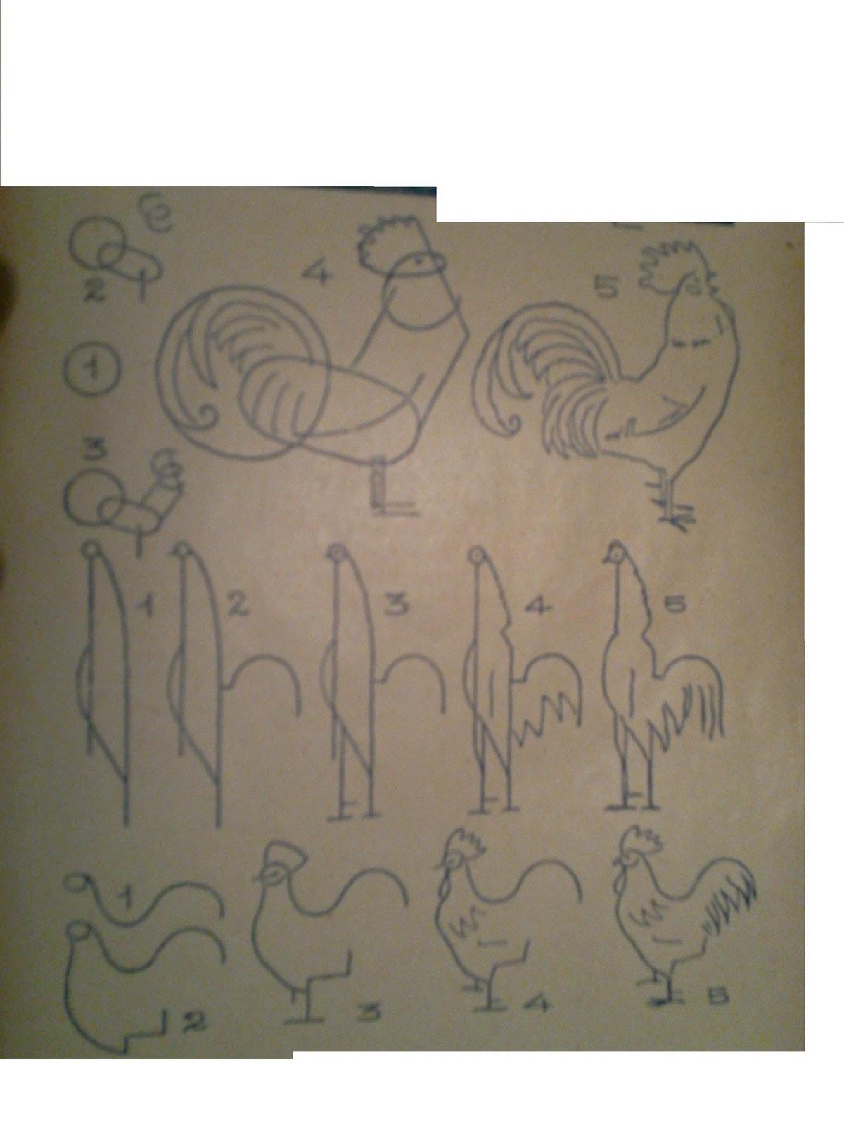 Dessins astuces pour debutants dessiner un coq poule et - Coq a dessiner ...