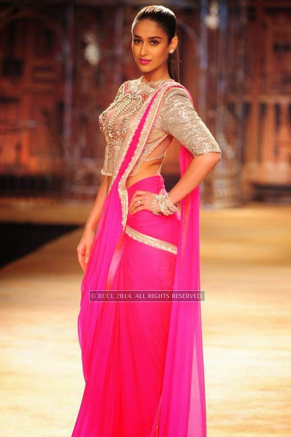 Bollywood actress Ileana Dcruz walks the ramp for Sulakshana on Day 6 of India Couture Week, 2014, held at Taj Palace hotel, New Delhi.
