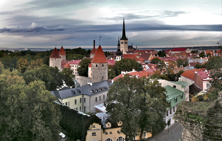 View from Toompea hill: Oleviste Kirik (St. Olaf's Church) and Vanalinn (Old Town) towers. Tallinn, Estonia