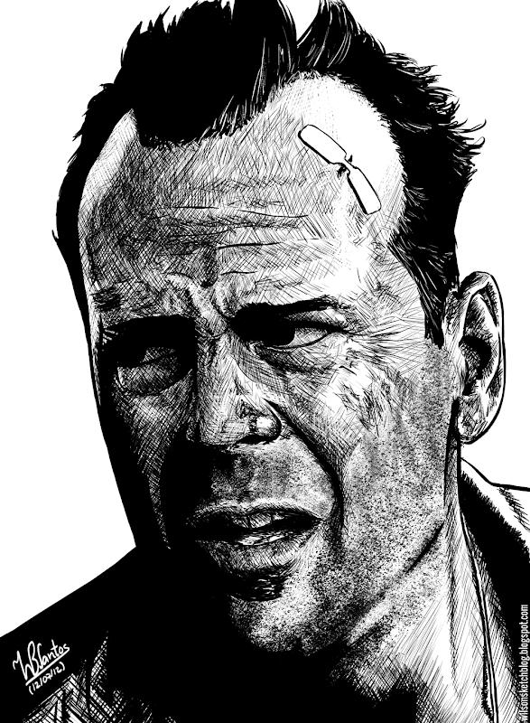 Ink drawing of Bruce Willis in the movie Die Hard, using Krita 2.5 Beta.
