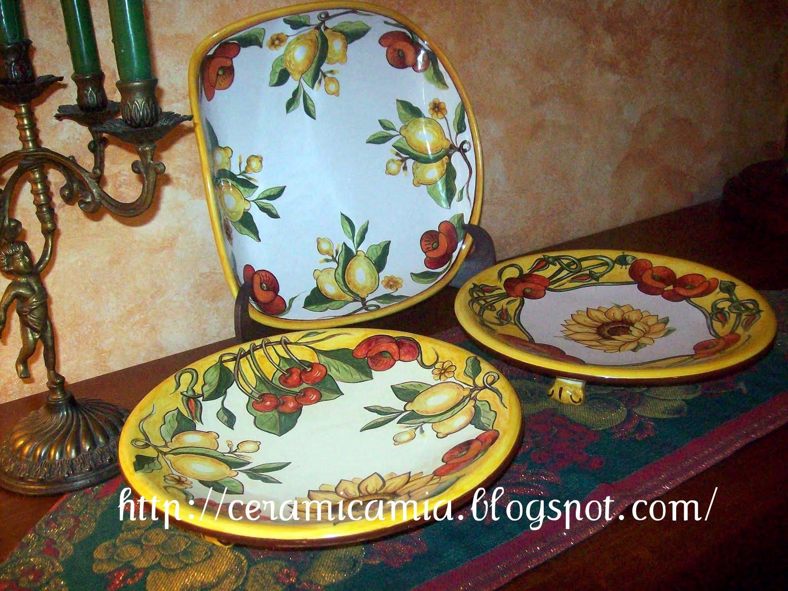 Ceramica che passione piatti di portata in maiolica - Piatti di frutta decorati ...