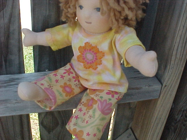 """Flower outfit or PJ's for Waldorf Doll - Custom size to fit your doll 10"""" - 21"""""""