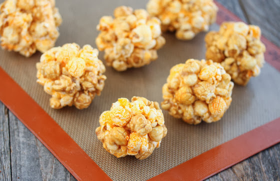 Cheddar Caramel Popcorn Balls