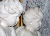 Antique pair of Large Mantel Bisque Porcelain Angels