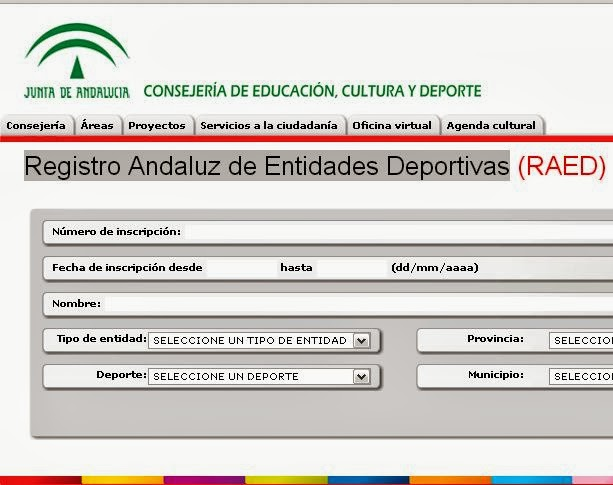 Abre web RAED. Registro andaluz de entidades deportivas