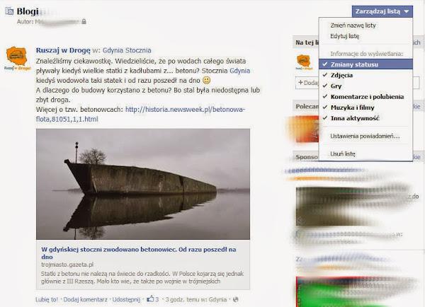 Ruszaj w Drogę na Facebooku - Wybierz typ informacji dla listy