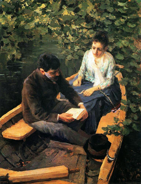 Konstantin Korovin - In a Boat (Portrait of the Artist Maria Yakunchikova and Self-Portrait)
