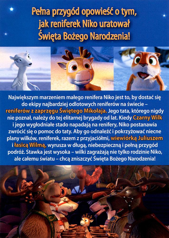 Ulotka filmu 'Renifer Niko Ratuje Święta (tył)'