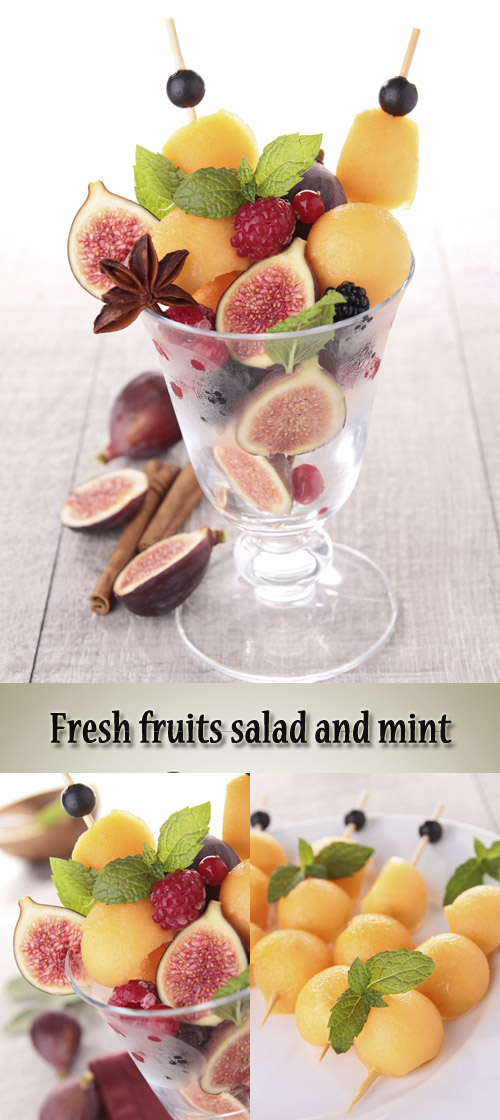 Stock Photo: Fresh fruits salad and mint
