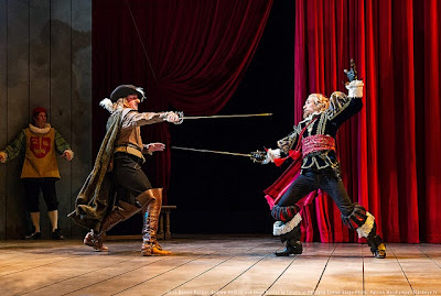 (L-R) Damon Kupper, Andrew McGinn and Chris Harder in Portland Center Stage's new adaptation of the classic romantic comedy Cyrano, photo by Patrick Weishampel/http://blankeye.tv