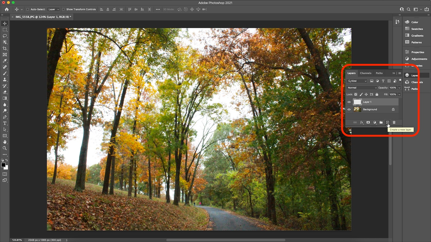 Screenshot of new layer created in Photoshop.