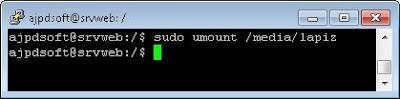 Desmontar pendrive o lápiz de memoria USB en Linux Ubuntu