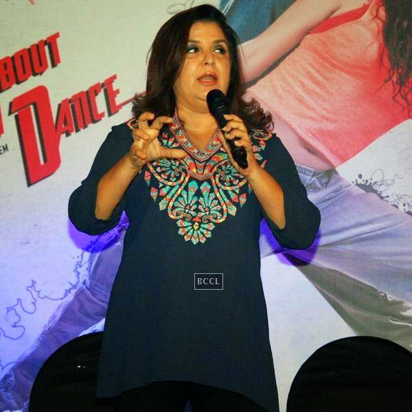 Farah Khan speaks during the trailer launch of Bollywood movie Mad About Dance, held at Fun Republic, on July 16, 2014.(Pic: Viral Bhayani)