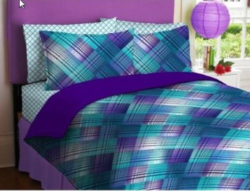 purple teal plaid reversible teen girls twin comforter set 6 piece bed in a bag queen bed. Black Bedroom Furniture Sets. Home Design Ideas