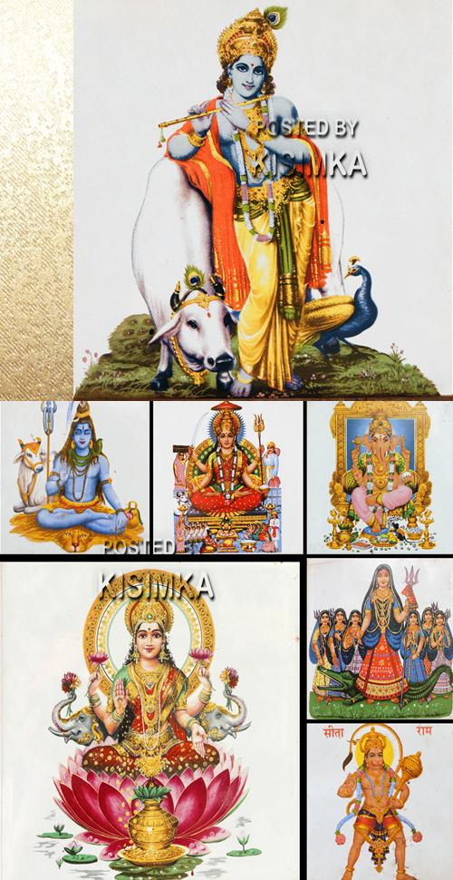 Stock image: Collage with painted tiles with Lakshmi and other hindu gods