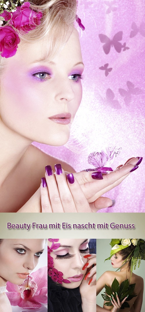 Stock Photo: Beauty Frau mit Eis nascht mit Genuss