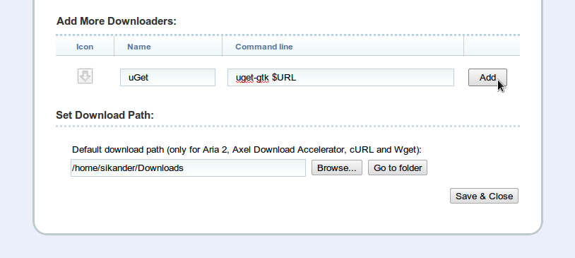 uGet Download Manager, Firefox and Chrome / Chromium Integration