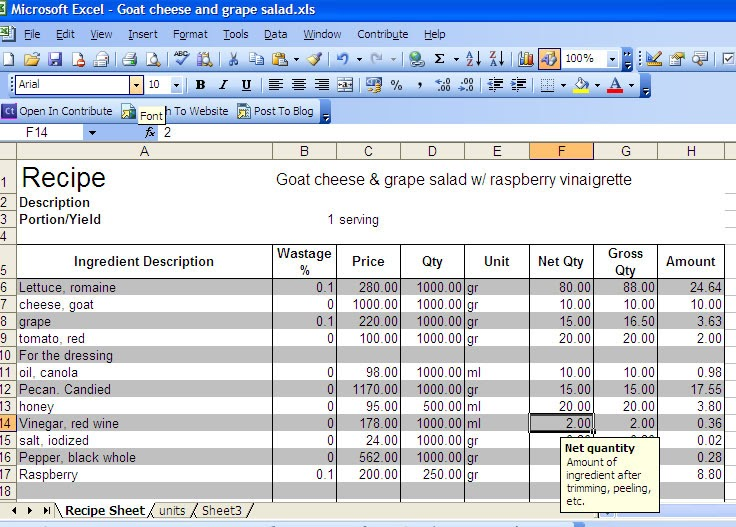Personal chef manila recipe cost excel sheet for Food costing sheet template