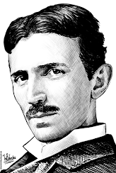 Ink drawing of Nikola Tesla