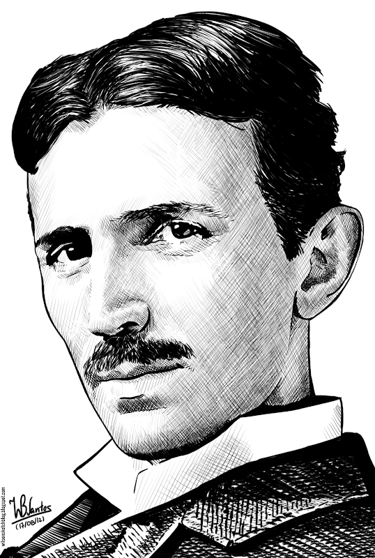 Ink drawing of Nikola Tesla, using Krita 2.4.