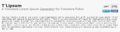 T'Lipsum – Yorkshire Lorem Ipsum Generator