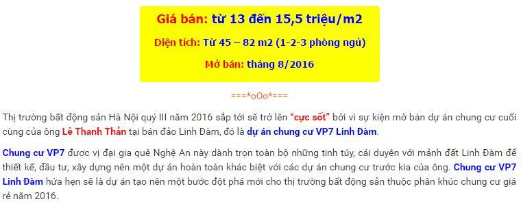 Chung cư VP7 Linh Đàm - Dự án chung cư giá rẻ HOT nhất 2016