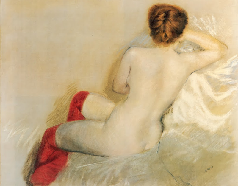 Giuseppe de Nittis - Nude with Red Stockings