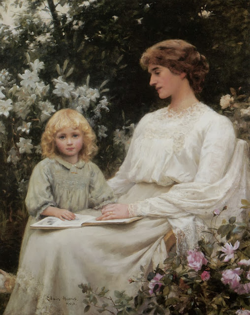 Edwin Harris - Portrait of a mother and daughter reading a Book,1903