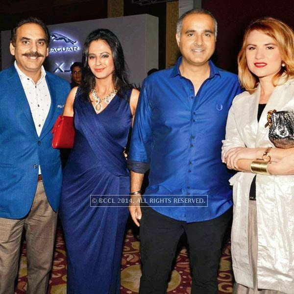 (L-R) Manoj Mehra, Aarti, Rajan and Kristina  during the launch of Jaguar XJ, in Delhi.<br />
