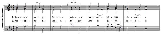 first 8 measures of Tantum Ergo by Bottazzo