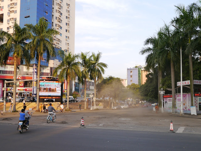 dust cloud at a street interesting in Zhuhai, Guangdong, China