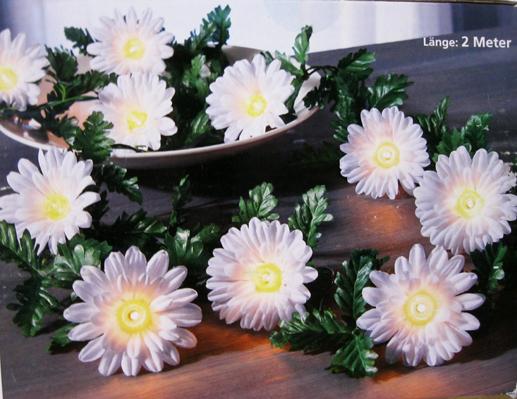 lichterkette girlande gerbera blumen bl ten deko f r. Black Bedroom Furniture Sets. Home Design Ideas