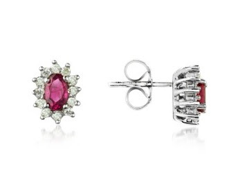 18k gold diamond earrings with ruby