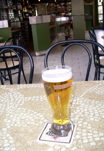 A very cold beer at the Palace