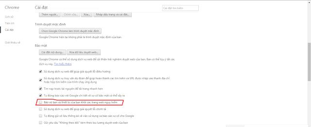 cách tắt chế độ bảo mật của chorme google