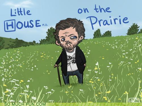 cartoon of House, MD in the middle of a prairie...little house on the prairie