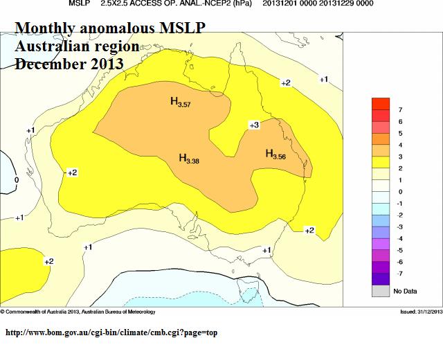 mslp anomaly dec 2013 for australia