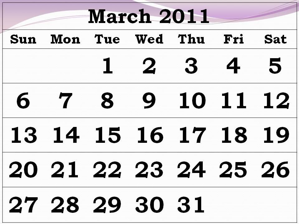 2011 march calendar printable. Free Printable Calendar 2011