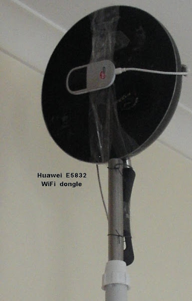 wok antenna on fan stand