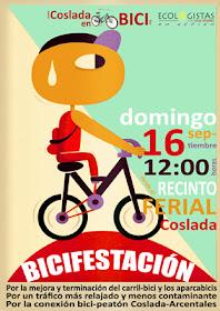Bicifestación en Coslada, domingo 16 de septiembre