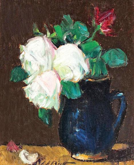 Leon Biju - Ulcică albastră cu trandafiri