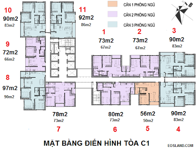 Mặt bằng tòa C1 - Tân Hoàng Minh Trần Duy Hưng