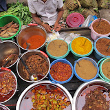 A riot of colour at a spice and pickle vendor's stand