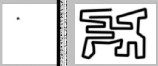 Cada final de reta é feito com um clique. A linha segue de um ponto ao outro