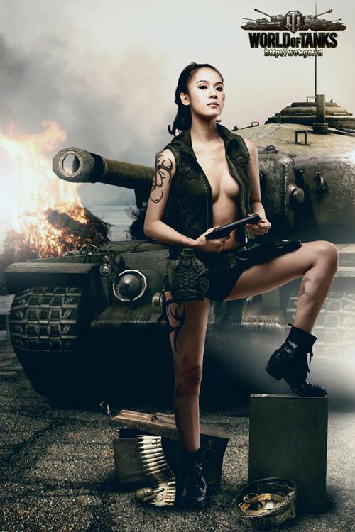 Siêu mẫu Thái Hà gợi cảm trong bộ ảnh World of Tanks 9