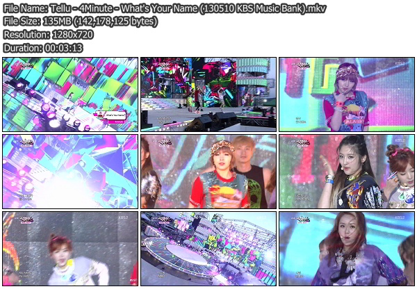 [Perf] 4Minute   Whats Your Name @ KBS Music Bank 130510