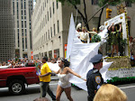She has wings and flew around the parade route